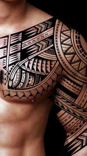 Великолепная Татуировка На Плече В Популярном Стиле Полинезия.