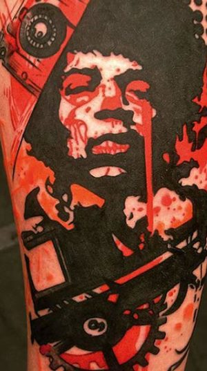 Татуировка Портрет На Икре В Стиле Art Brut.