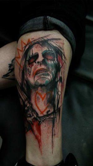 Татуировка Портрет На Икре В Стиле Арт Брют