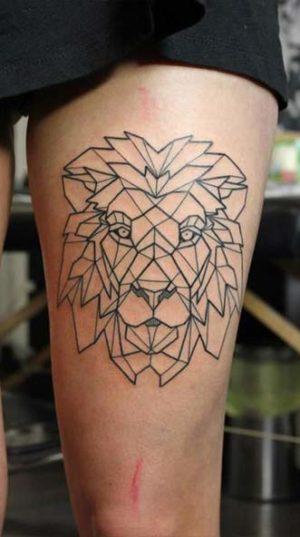 Татуировка Голова Льва На Ноге В Стиле Геометрия.