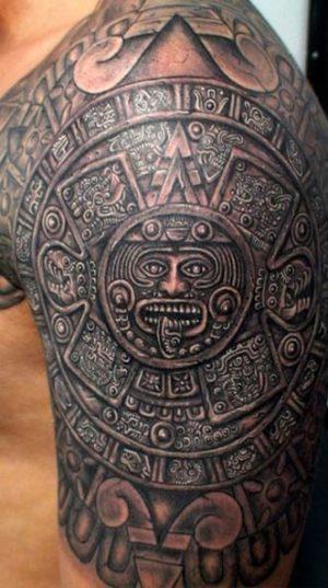 Татуировка На Плече Выполненная В Стиле Майя.