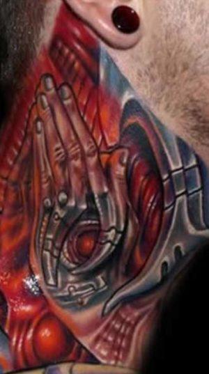 Татуировка На Шее Стиле Биомеханика!