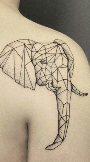 Голова Слона На Плече В Стиле Геометрия.