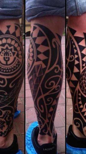 Татуировка На Икре В Полинезийском Стиле Тату.