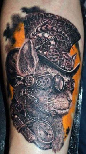 Татуировка чумной доктор в стилистике стимпанк.